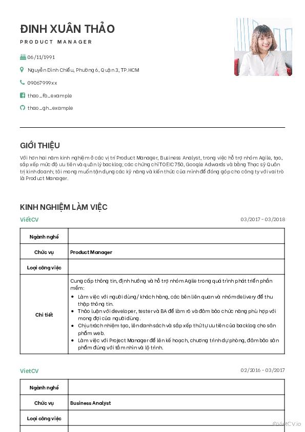 Mẫu CV Rõ ràng