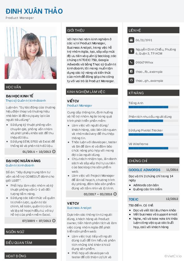 Mẫu CV Chuyên nghiệp