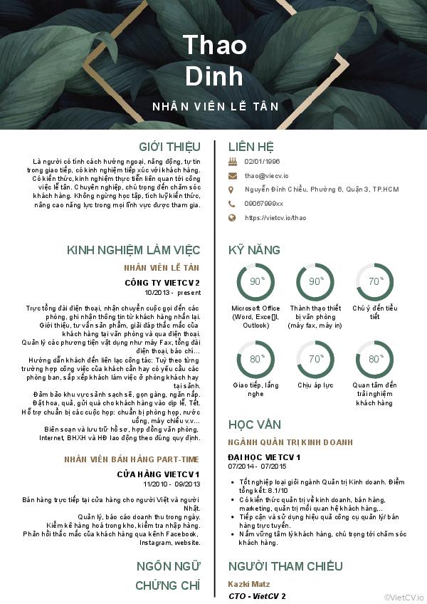 CV tham khảo Nhân viên lễ tân