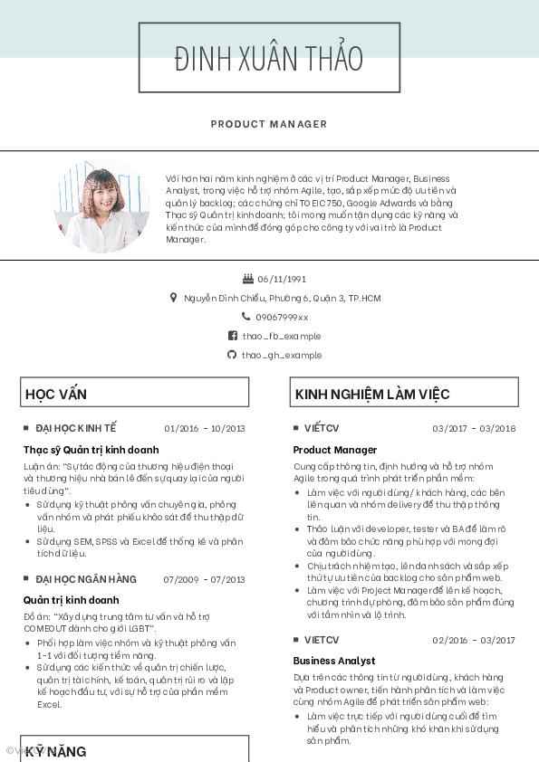 Mẫu CV Đơn giản 1