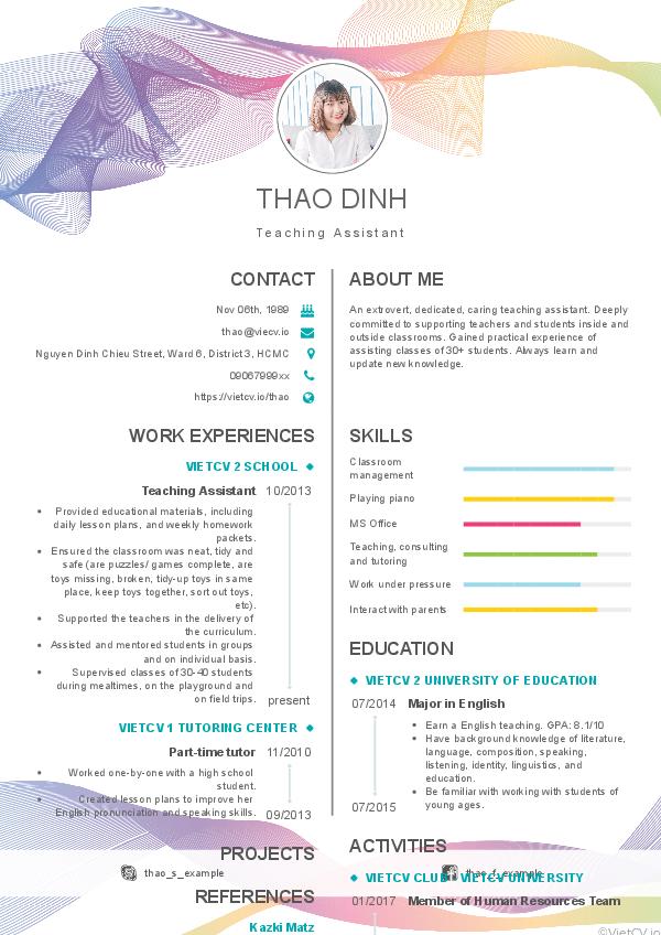 CV tham khảo Trợ giảng