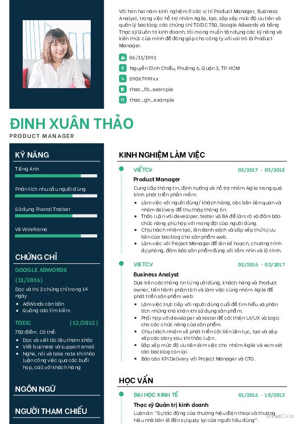 Mẫu CV Lịch lãm