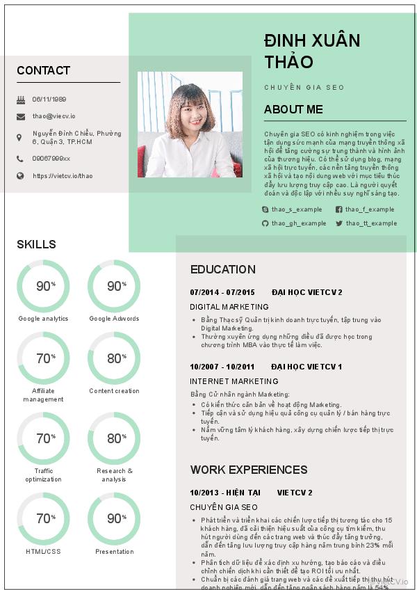 CV tham khảo seo