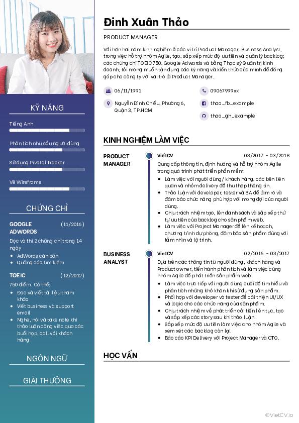 Mẫu CV Hòa sắc