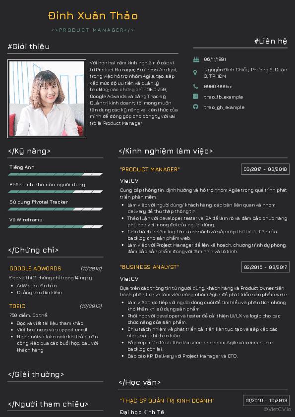 Mẫu CV Hacker