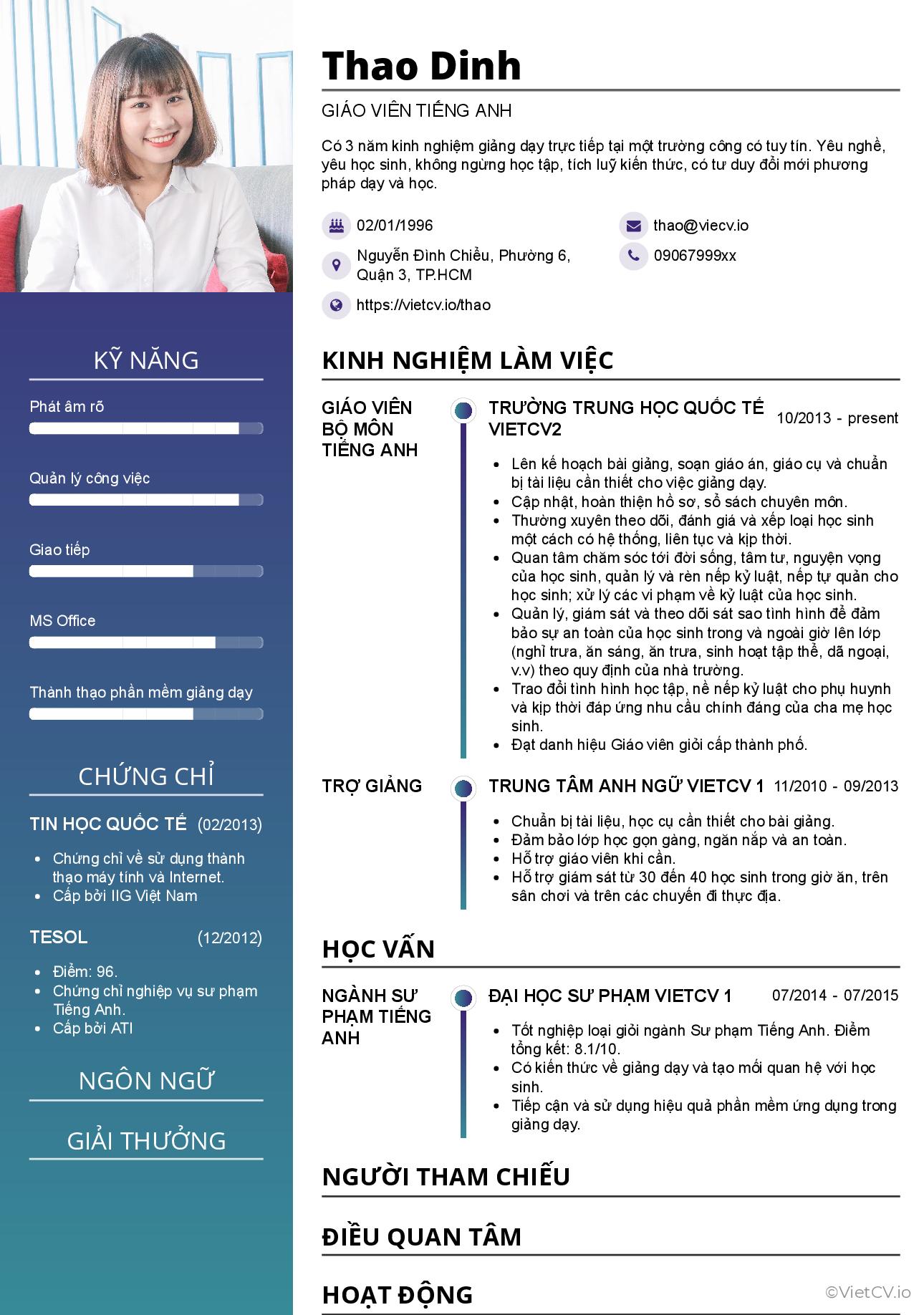 CV tham khảo Giáo viên