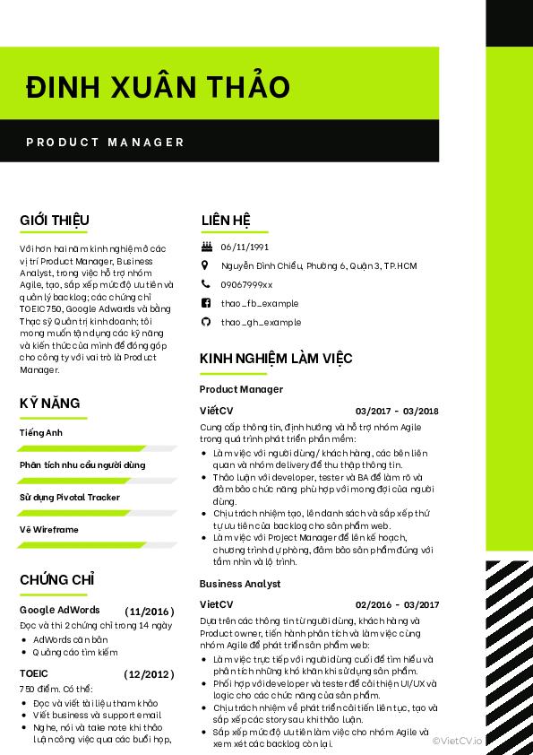 Mẫu CV Mới mẻ