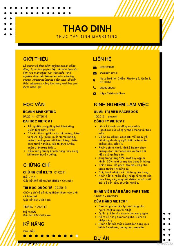 CV tham khảo Thực tập sinh Marketing