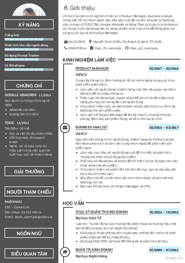 Mẫu CV Hiện đại