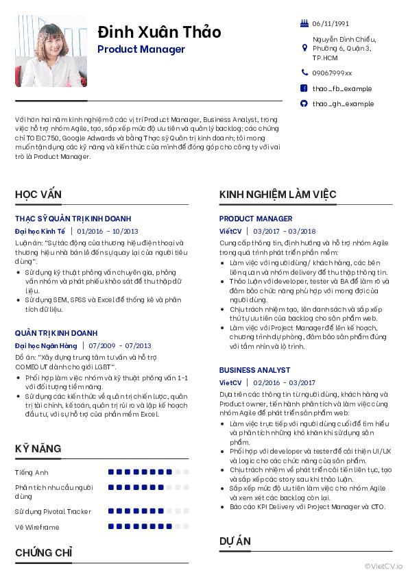 Mẫu CV Đơn giản 3