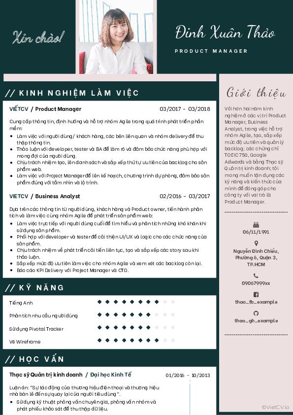 Mẫu CV Thời trang