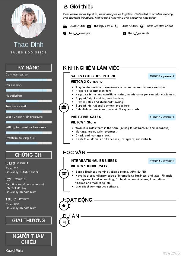 CV tham khảo Nhân viên Kinh doanh Xuất nhập khẩu